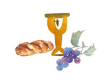 Watercolor Style of Communion Items Prints