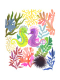 Two Seahorses Kissing Surrounded by Coral and Leaves Posters