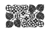Stylized Leaf Stems with Graphic Floral Medallions Prints