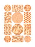 Multiple Geometric Patterns in Orange Premium Giclee Print