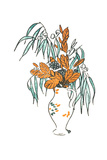 Graphic Bouquet with Weeping Leaves Prints