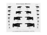 Graphic Pointing Hand Silhouettes in Various Sizes Premium Giclee Print
