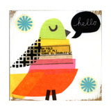 Collage Bird with Hello Lettering in Word Balloon Poster