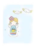 Girl Angel on Cloud with Basket in Hand Premium Giclee Print