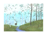Forest Scene with Birch Trees, a Stream, and Deer Posters