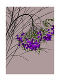 Branches Full of Purple Berries on Gray Background Art