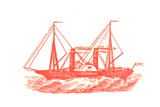 Red Illustration of Ship in Profile Prints