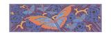 Stylized Butterfly on Purple Flower Blooms Print