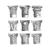 Stylizes Pillar Capitals Variations Poster