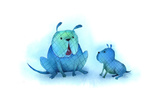 Blue Bulldog and Puppy Sitting Together on White Background Posters