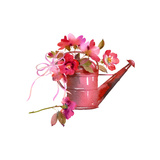 Watering Can with Bow Filled with Red and Pink Flowers Prints