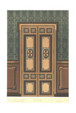 Paneled Door with Stylized Floral Decorations on Dark Wall Prints
