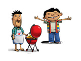 Father Grilling Burgers Son with Arms Out Premium Giclee Print