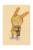 Brown Bunny Hugging Teddy Bear Print