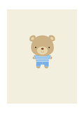 Cheerful Teddy Bear in Blue Outfit Posters