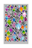 Graphic Pattern of Colorful Diamond Shapes Posters
