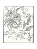 Paisley Floral Illustration on Stylized Stems Print