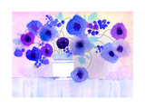 Purple and Blue Flowers in White Vase Art