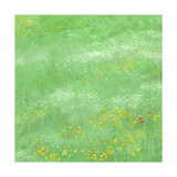 Field of Tall Grass with Yellow Flowers Scattered Throughout Posters