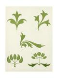 Graphic Stems and Fleur-De-Lis Designs Premium Giclee Print
