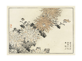 Row of Stylized Japanese Flowers with Insect Premium Giclee Print