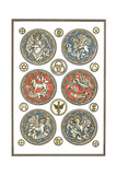 Stylized Mythical Creatures and Symbols Medallions Print