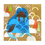 Collage of a Walrus with Trees in Background Prints