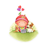 Baby Girl Hugging Animal Friends Stretched Canvas Print