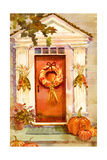 Front Doorway Decorated with Wreath, Corn, and Pumpkins Poster
