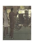 Men Gesturing to Carriage at Night Premium Giclee Print