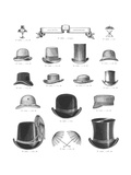 Vintage Top Hat Illustrations Premium Giclee Print