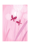 Butterflies with Dandelions on Pink Prints