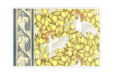 Stylized Birds on Lemon Tree Pattern with Fish Border Prints