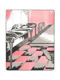 Art Deco-Style Dining Room Illustration Premium Giclee Print