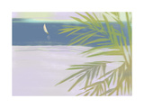 Palm Branches with Distant Sailboat on Water Posters