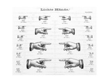 Pointing Hand Illustrations in Various Sizes Premium Giclee Print