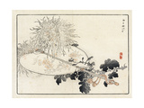 Asian Fan with Tassel on Stylized Flowers Premium Giclee Print