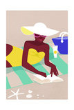 Woman in White Hat Lying on the Beach Posters