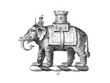 Stylized Elephant Carrying Man and Castle Symbol Posters