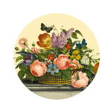 Mixed Flowers in a Basket with Blue Butterfly Prints