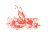 Red Illustration of Ship on Water Art