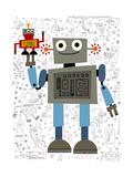 Smiling Robot Holding Smaller Robot in Hand Premium Giclee Print