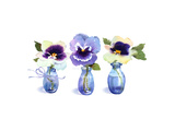Small Blue Vases with a Single Pansy in Each Print