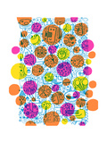 Dense Outline Pattern Covered with Colorful Dots Plakater