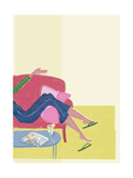 Woman's Legs Draped over Arm of Couch Premium Giclee Print