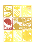 Cut Paper Tropical Fruits and Plants in a Grid Prints