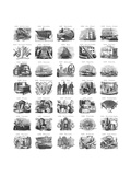 Vintage Illustrations of Everyday Tasks and Object Clusters Premium Giclee Print