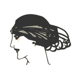 Art Decor Woman in Profile Wearing Head Piece Stretched Canvas Print