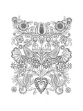 Symmetrical Whimsical Birds and Flowers Design Premium Giclee Print