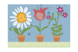 Three Pots of Smiling Flowers Holding Hands Posters